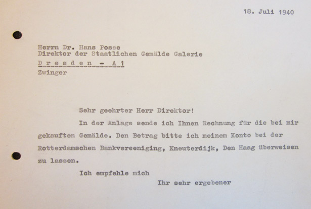 Letter from Gustav Cramer to Hans Posse - July 18, 1940