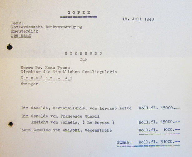 Invoice from Gustav Cramer to Hans Posse - July 18, 1940