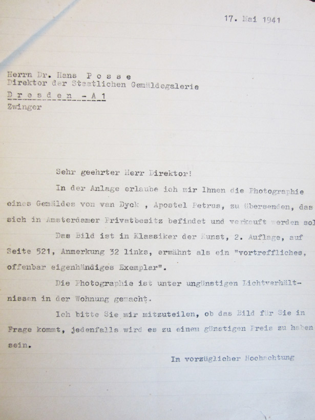 Letter from Gustav Cramer to Hans Posse - May 17, 1941