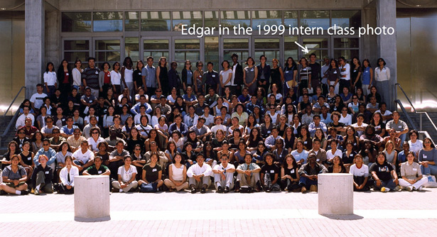 Edgar Garcia in a group photo of the 1999 class of Getty Multicultural Undergraduate interns