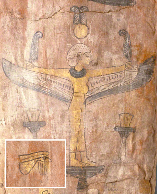Details of the symbols painted on the linen wrapper of the Mummy of Herakleides at the Getty Villa