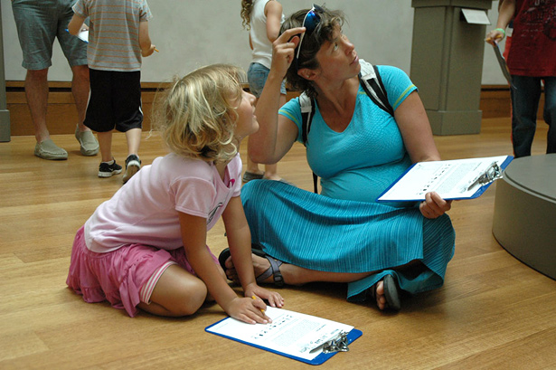 Mother and daughter participate in Family Art Lab at the Getty Center, summer 2012