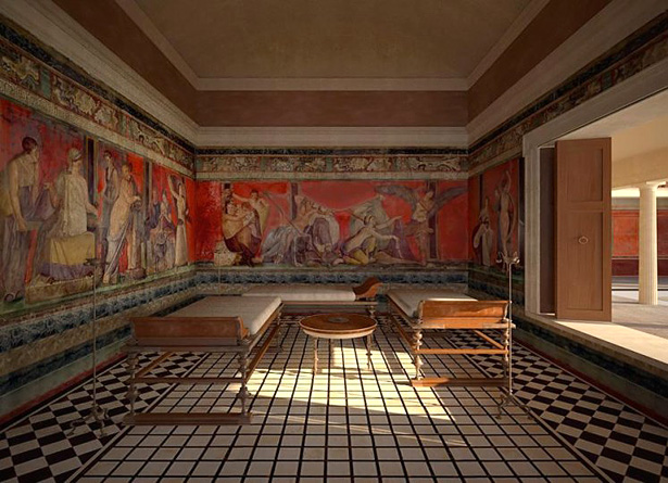 Digital reconstruction of the triclinium of the Villa of the Mysteries, Pompeii