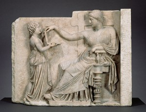 Gravestone with a Woman and Her Attendant / Greek