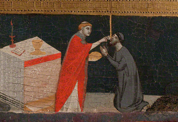 Detail of scene in central panel of the Chiarito Tabernacle showing Chiarito del Voglia / Pacino di Bonaguida