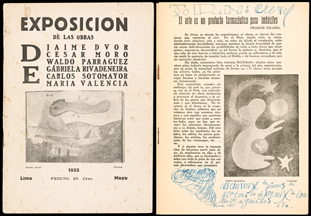 Cover and introduction page of Exposicion de Las Obras de Cesar Moro