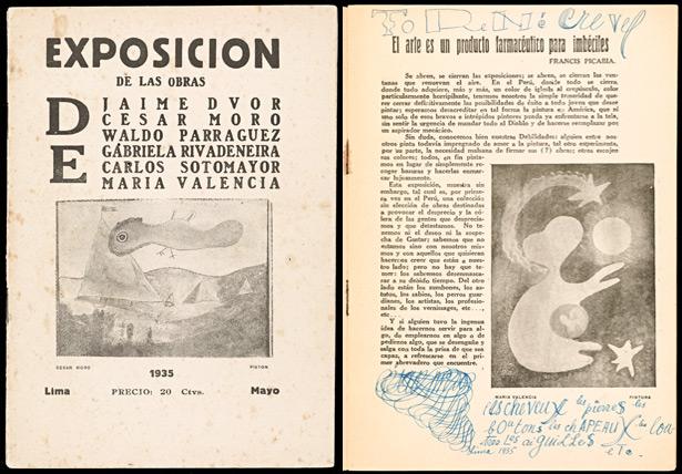 Cover and introduction page of Exposicion de Las Obras de Cesar Moro