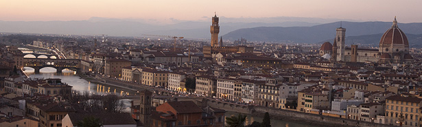 Panorama of Florence, Italy at dusk