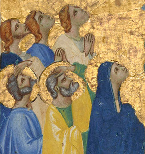 Detail of worshippers in the Ascension of Christ from the Laudario of Sant'Agnese / Pacino di Bonaguida