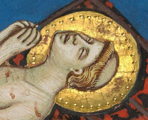 Detail of saint's face in the Martyrdom of Saint Lawrence from the Laudario of SantAgnese / Pacino di Bonaguida