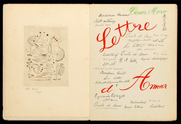 Title page of Lettre d'Amour by César Moro with frontispiece by Alice Paalen