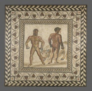 A family visiting the Getty Villa explores ancient art, history, and mythology through frescoes from the ancient Roman city of Herculaneum.