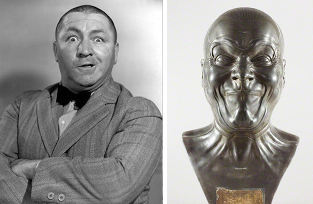 Curly Howard and Franz Xaver Messerschmidt's A Strong Man