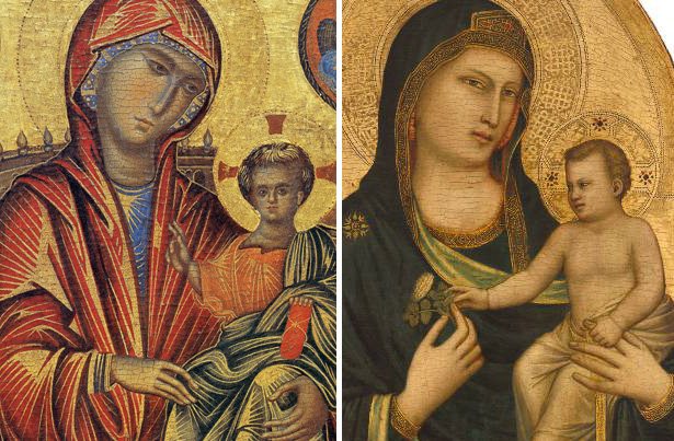 Byzantine Madonna and Child compared to Giotto's more naturalistic depiction of the same subject