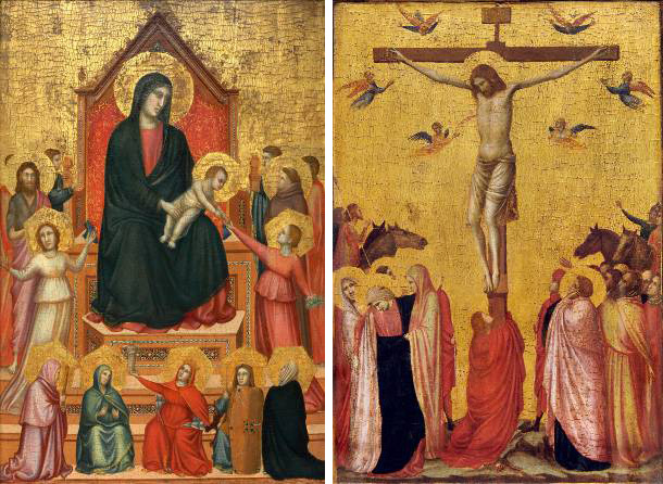 Panel paintings by Giotto: Virgin and Child and Crucifixion