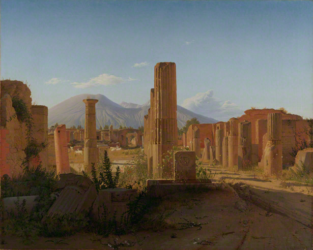 The Forum at Pompeii with Vesuvius in the Distance / Christen Schjellerup Kobke