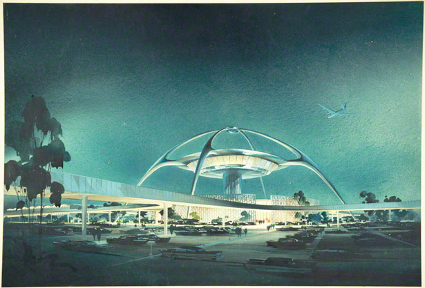 LAX, Theme Building, perspective view / Charles Luckman, William Pereira, Welton Becket, and Paul R. Williams