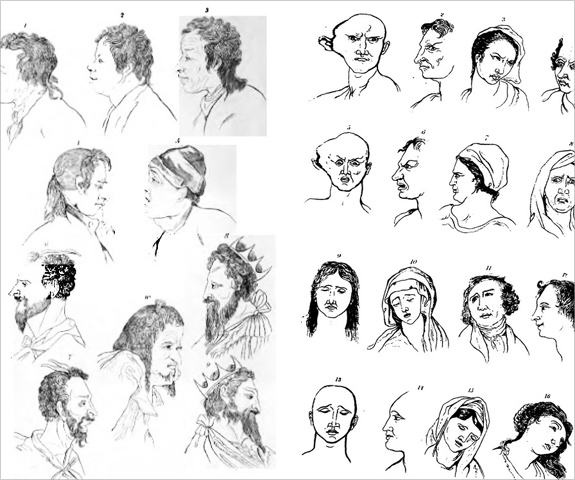 Illustrations of problematic faces in Johann Caspar Lavater's Essays on Physiognomy