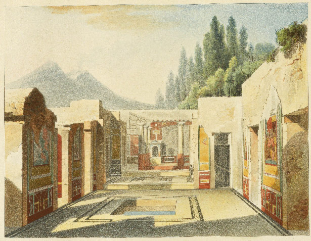 View through the atrium and tablinum of the House of the Tragic Poet in Pompeii / Jules Frederic Bouchet and Raoul Rochette