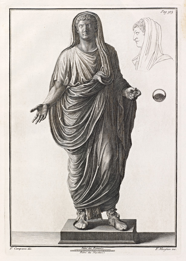 Statue of Tiberius in a 1771 engraving