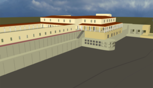 Side view of the virtual-reality model of the Villa of the Papyri in Herculaneum