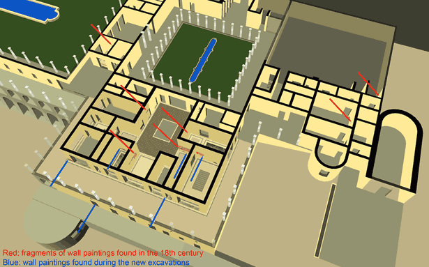 Still from the virtual-reality model of the Villa of the Papyri in Herculaneum showing locations of wall paintings