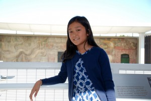 Asumi on the viewing platform of the Amrica Tropical Interpretive Center.