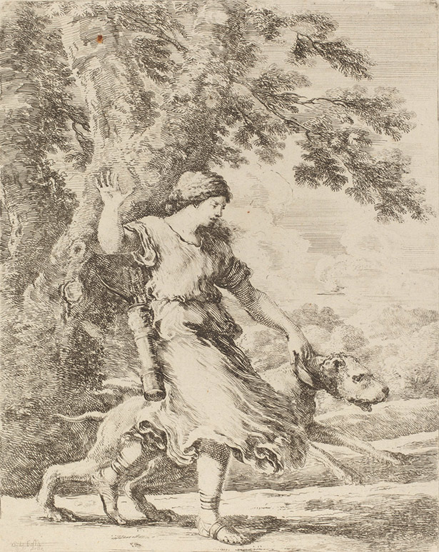 Nymph Holding a Large Dog by a Collar / Stefano Della Bella