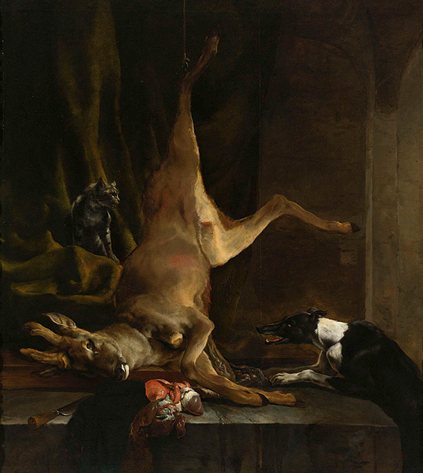 A Dog and a Cat with a Half-Butchered Roe / Jan Baptist Weenix