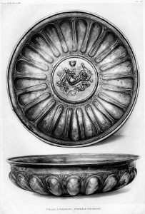 Early 20th-century print of silver vessel number 11 from the Berthouville Treasure