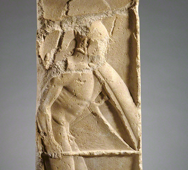 Depiction of crouched warrior on Gravestone for Pollis / Greek