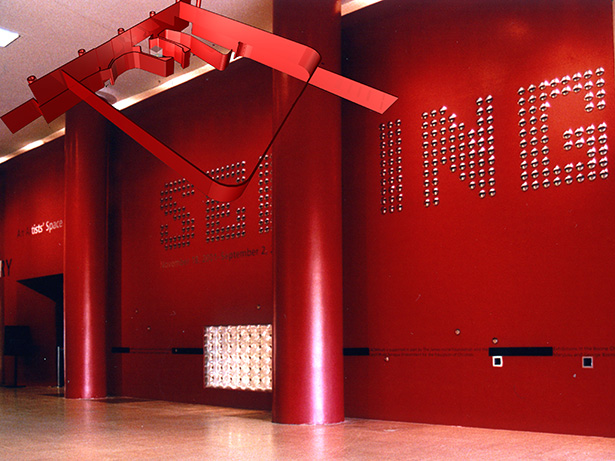 Christoph Korner's red title wall for the Seeing exhibition at LACMA Lab
