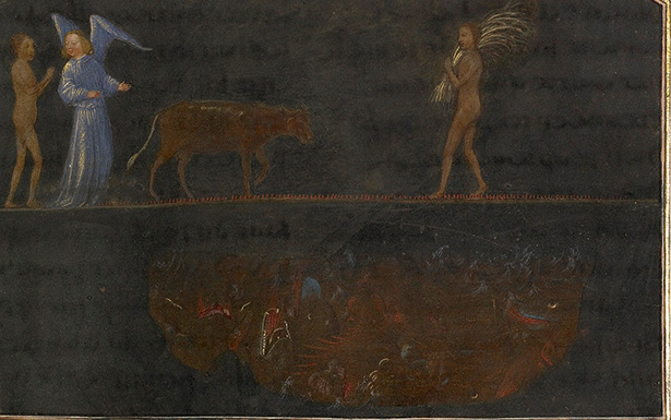 The Torment of Thieves: Tondal Leads a Cow Across a Nail-studded Bridge in The Visions of the Knight Tondal