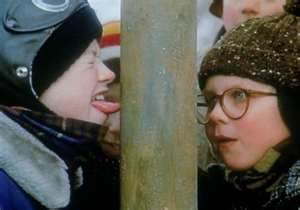 Ouch! Flick gets his tongue stuck to a pole in 1983's A Christmas Story