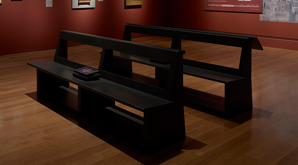 As installed: Front view of the benches in front of one of the gateway objects