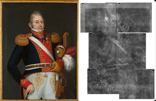 X-ray view of painting by Jose Gil de Castro showing overpainted portrait of Ferdinand VII