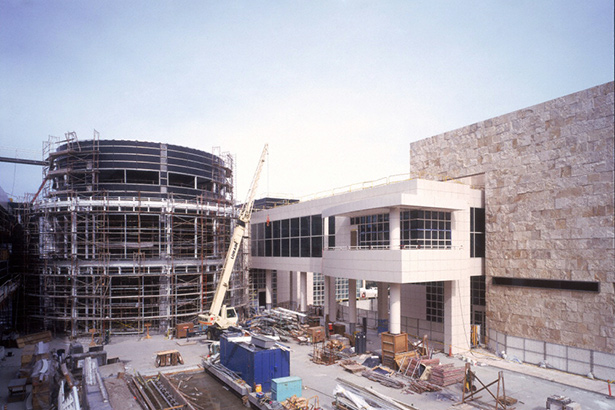 Museum Courtyard at the Getty Center under construction, 1997