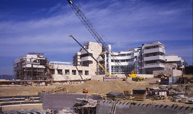 Construction of the Getty Research Institute, spring 1997