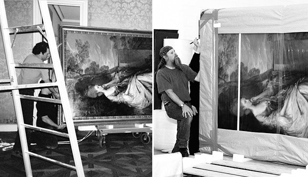 Preparators pack up the collection for the move from Malibu to the Getty Center