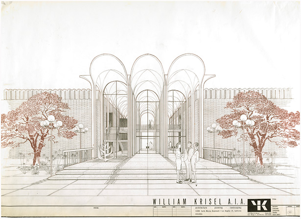 Sketch of Hebrew Union College, designed by William Krisel