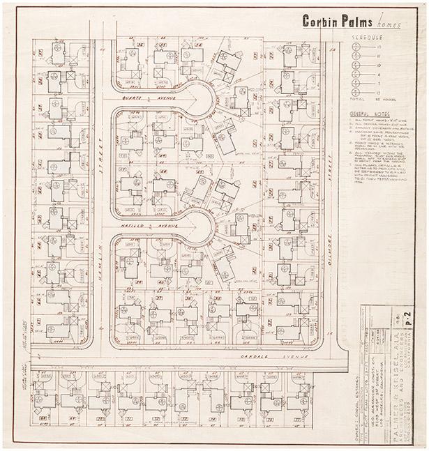 Corbin Palms tract map, San Fernando, designed by Palmer & Krisel