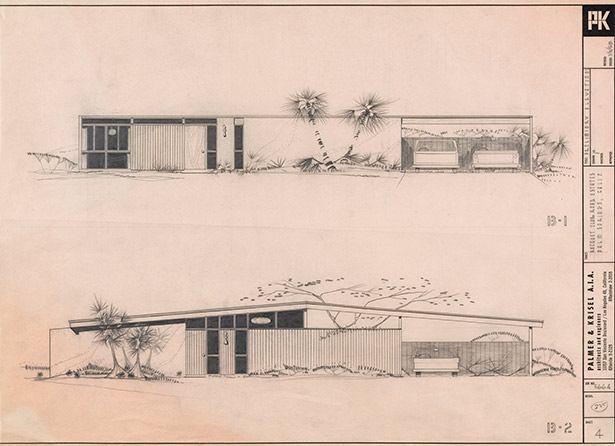 Elevations of models in the Racquet Club Road Estates tract, Palm Springs, designed by Palmer & Krisel