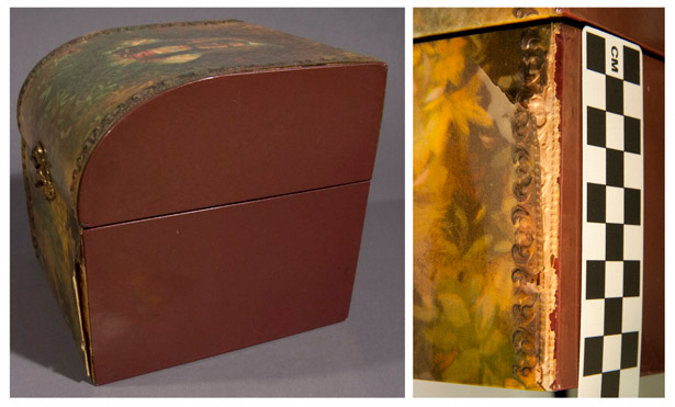 Close-up photos of damage to the left front of Robert Mapplethorpe's 1971 box