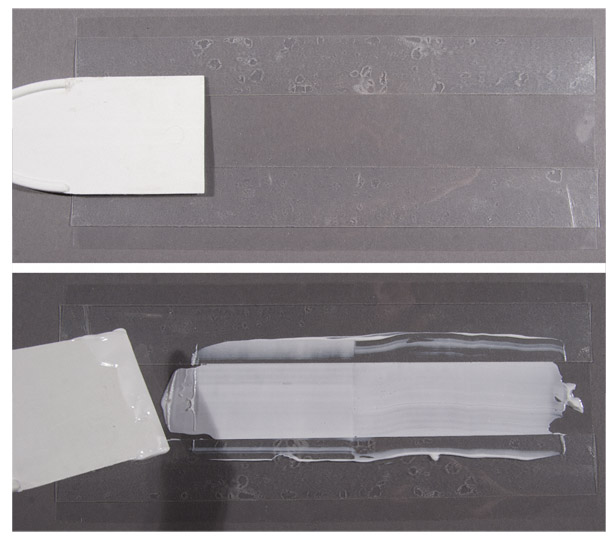 Mylar strip and test mold for the conservation of Mapplethorpe's box