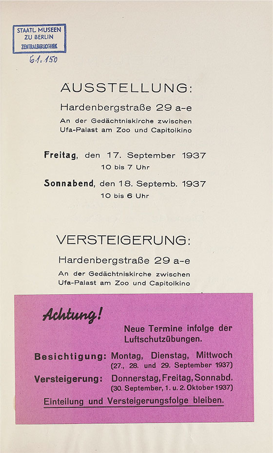 Title page of a 1937 catalogue from the Achenbach auction house