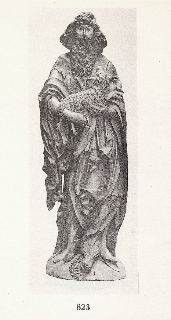 Plate 20 from a 1937 Achenbach auction catalogue showing a wood sculpture of St. John