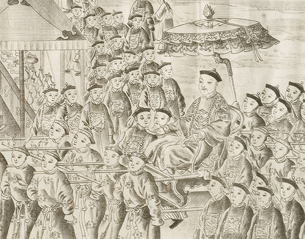 Detail of Chinese emperor Qianlong in Pictures of the Campaigns against the Gurkhas / Chinese