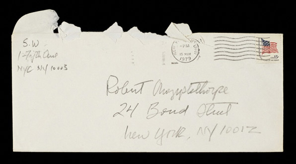 Letter from Sam Wagstaff to Robert Mapplethorpe (front of envelope)