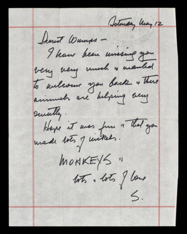 Letter from Sam Wagstaff to Robert Mapplethorpe (hand-written letter)