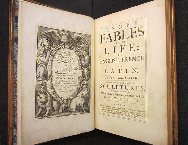 Title page of Aesop's fables, with his life: in English, French and Latin: newly translated